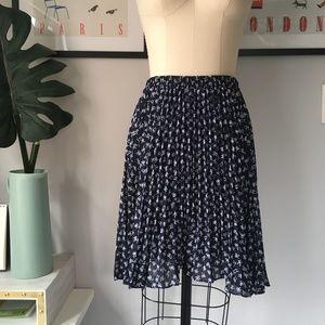 VTG •Accordion Pleated Bow Print Skirt